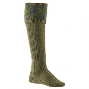 Ladies Pattern Socks in Olive, Green & Blue