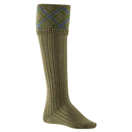 Ladies Pattern Socks in Olive, Green & Blue