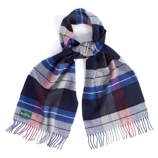 Large Check Scarf Blue