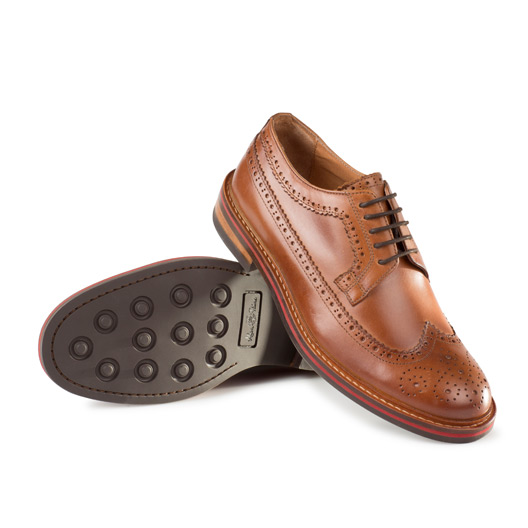 Mens Leather Brogue Tan