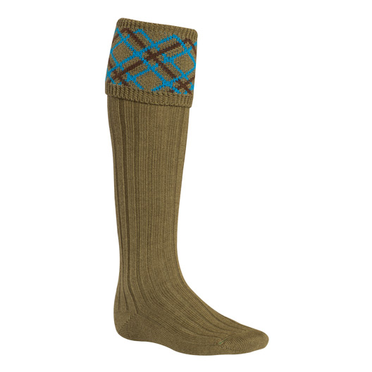 Mens Pattern Socks in Olive, Blue & Brown