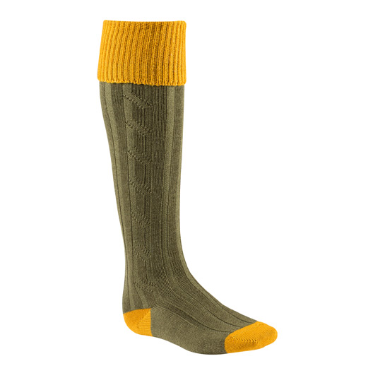 Mens Socks in Olive and Gold
